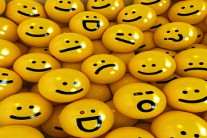 3D rendering of yellow emoticons with different expressions